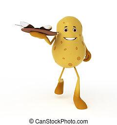 voedingsmiddelen, karakter, -, aardappel