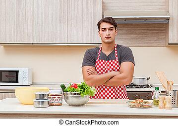 voedingsmiddelen, keuken, het bereiden, cook, mannelijke , man