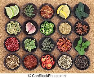 voedingsmiddelen, kruiden, sampler