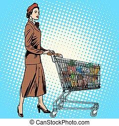 voedingsmiddelen, kruidenierswinkel, volle, kar, koper