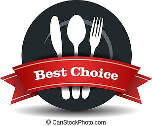 voedingsmiddelen, kwaliteit, badge, restaurant