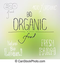 voedingsmiddelen, lettering, organisch