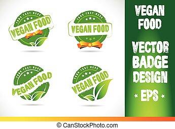 voedingsmiddelen, logo, vector, badge, vegan