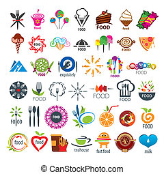 voedingsmiddelen, logos, vector, verzameling, groot