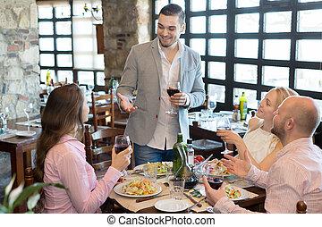 voedingsmiddelen, mensen, jonge, taverne, het genieten van