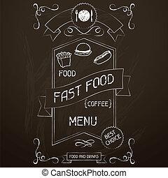 voedingsmiddelen, menu, chalkboard., vasten, restaurant