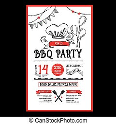 voedingsmiddelen, menu, flyer., invitation., mal, barbecue,...