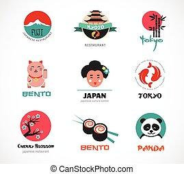 voedingsmiddelen, menu, sushi, iconen, japanner, ontwerp