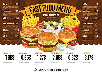 voedingsmiddelen, menu, template., vasten