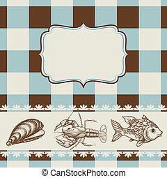 voedingsmiddelen, menu, zee