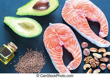 voedingsmiddelen, met, omega-3, vetten