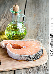 voedingsmiddelen, met, unsaturated, vetten, -, salmon, en, olijvenolie