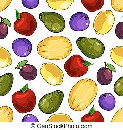 voedingsmiddelen, model, seamless, ontwerp, vruchten, fris