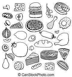 voedingsmiddelen, monochroom, vector, hand, getrokken