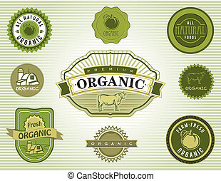 voedingsmiddelen, natuurlijke , set, organisch, laboratorium