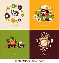 voedingsmiddelen, organisch, iconen, plat