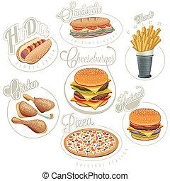 voedingsmiddelen, ouderwetse , stijl, vasten, designs.