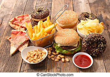 voedingsmiddelen, ouwe rommel, geassorteerd