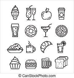 voedingsmiddelen, ouwe rommel, set, vasten, iconen