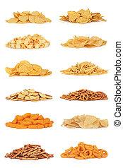 voedingsmiddelen, ouwe rommel, snack, verzameling