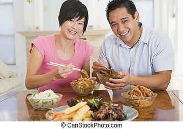 voedingsmiddelen, paar, het genieten van, jonge, chinees