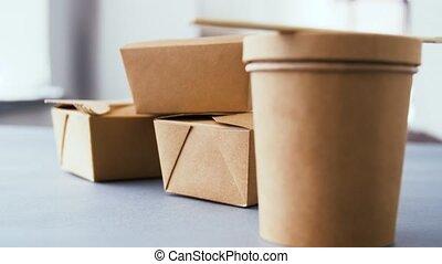 voedingsmiddelen, papier, beschikbaar, containers, takeaway