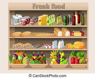 voedingsmiddelen, planken, supermarkt, dranken