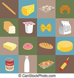 voedingsmiddelen, plat, iconen