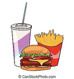 voedingsmiddelen, plat, set, kleurrijke, vasten