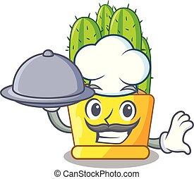 voedingsmiddelen, pot, kok, cereus, cactus, spotprent