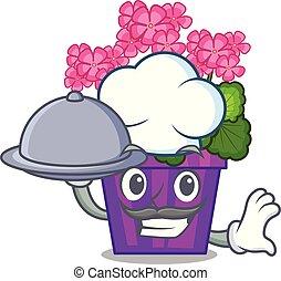 voedingsmiddelen, pot, kok, geranium, bloemen, spotprent