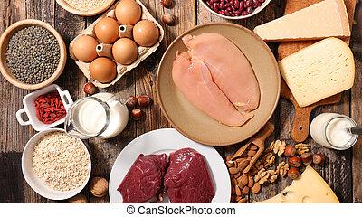 voedingsmiddelen, proteïne, geassorteerd