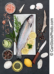 voedingsmiddelen, regenboog, gezondheid, forel