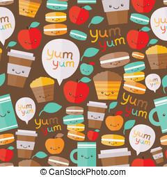 voedingsmiddelen, schattig, pattern., seamless