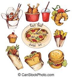 voedingsmiddelen, schets, set, vasten