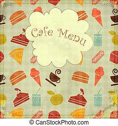 voedingsmiddelen, seamless, -, menu, dekking