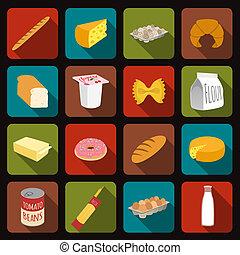 voedingsmiddelen, set, iconen