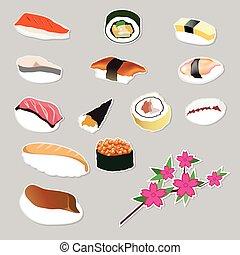 voedingsmiddelen, set, japanner, vector, pictogram