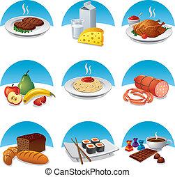 voedingsmiddelen, set, maaltijd, pictogram