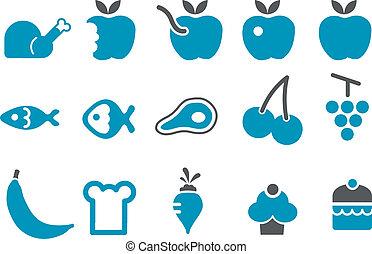 voedingsmiddelen, set, pictogram