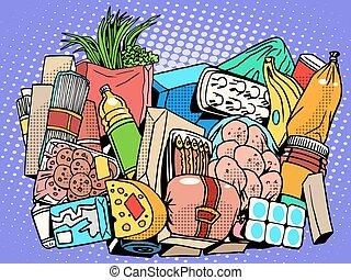 voedingsmiddelen, set, producten, goederen
