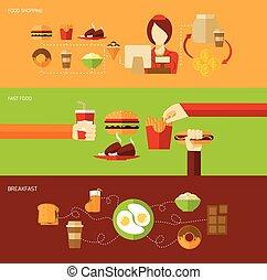 voedingsmiddelen, set, spandoek, vasten