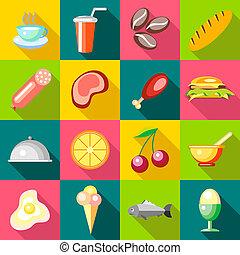 voedingsmiddelen, set, stijl, iconen, plat