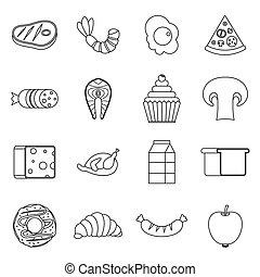 voedingsmiddelen, set, stijl, schets, iconen