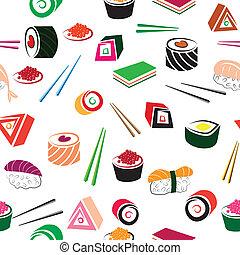 voedingsmiddelen, set., sushi, seamless, deta, aziaat