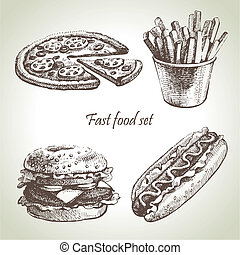 voedingsmiddelen, set., vasten, hand, illustraties,...