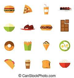 voedingsmiddelen, set, vasten, iconen