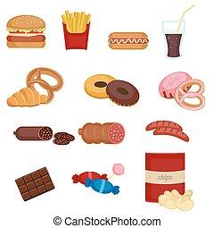 voedingsmiddelen, set, vasten, kleurrijke, iconen