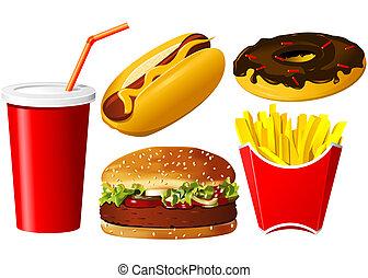 voedingsmiddelen, set, vasten, pictogram