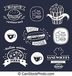 voedingsmiddelen, set, vasten, tekens & borden
